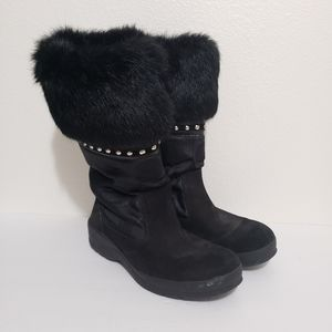 COACH Black Lesly Snow Winter Boots with Fur 8M